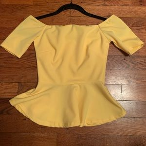 Yellow off the shoulder peplum